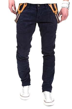 MT Styles - 912 - Jean style chino coupe slim - bretelles incluses - Bleu foncé - W32