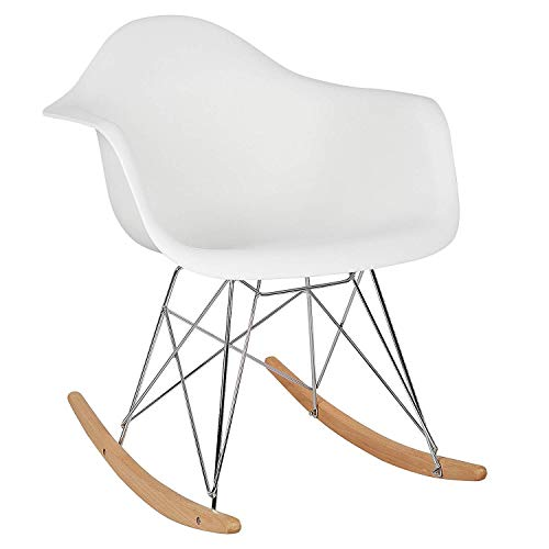 Premium Design Fauteuil à Bascule siège en Plastique Chaise à Bascule Pieds en Acier Bois,Blanc