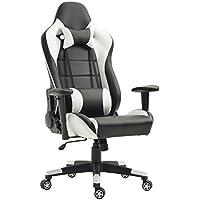 Tiigo Chaise Gamer Fauteuil de Bureau Chaise Ordinateur Hauteur réglable (Noir/Blanc)