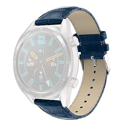 Lazzgirl Runde Schwanz ersatz Leder uhrenarmband Armband für Huawei Uhr gt(Blau) -
