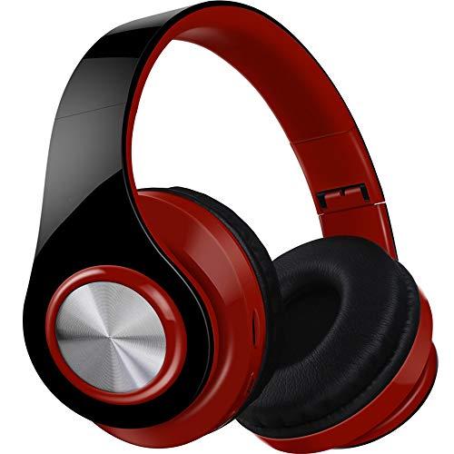 MARXIAO Headset Kabelloses Bluetooth-Headset 4.1, tragbarer Faltbarer FM-Subwoofer Intelligente Kopfhörer mit Geräuschunterdrückung, geeignet für Sportreisen im Freien,Rot