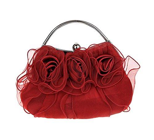 KAXIDY Damen Mädchen Clutch Abendtasche Abend-Hand Purse Blumen Satin Handtasche (Wein-Rot)