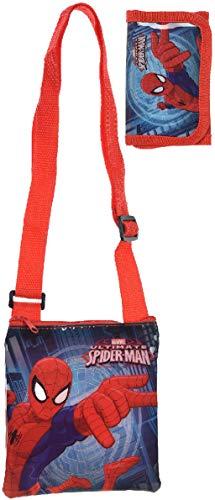 Marvel Spiderman Schultertasche Umhängetasche mit Passendem Geldbeutel