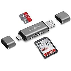 Jelly Comb Lecteur de Cartes SD, Micro SD, SDXC, Micro SDXC, SDHC, Micro SDHC, Adaptateur 3-en-1 USB 3.0, Micro-USB, USB-C pour Ordinateur Macbook etc