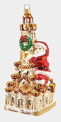Pinnacle Santa on Chicago Water Tower Polish Glass Christmas Ornament Illinois Decoration