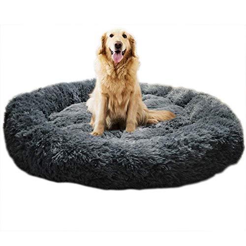 KongEU Deluxe weich Hundebett Sofa waschbar Rundes Plüsch Hundekissen Katzenbett in Doughnut-Form für große und extra große Hunde,Wasserfeste Unterseite-XL:100CM-dunkelgrau