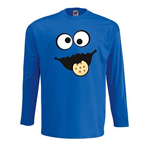 Keks Monster Unisex Langarm-Shirt Gruppen Kostüm Karneval Verkleidung Party JGA Royal Blue XXL