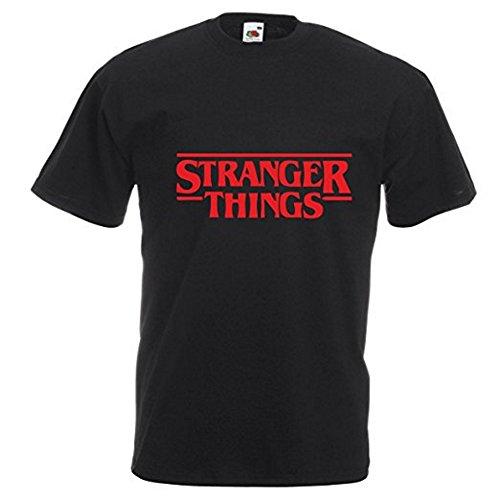 Camiseta con el Logo Impreso del título de la Serie de Netflix Stranger Things - M - Negro