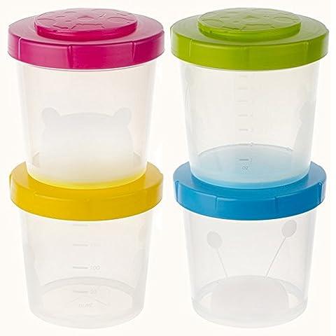 Contenants d'entreposage des aliments bébé – Sunbaby Set contient 4 Twist lock empilable réutilisable 6,8 oz bocaux avec couvercles étanches (lot de 4, Rose Vert Bleu Jaune)