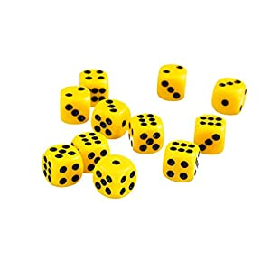 Desconocido 50pcs / Set Juguetes Educativos Matemáticas Dados 12mm Opacos Seis TRPG – Amarillo