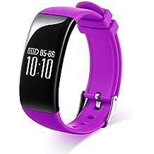 RG multifuncional inalámbrica Bluetooth pulsera de los deportes rastreador de ejercicios Monintor Salud para ios Sistema Android iPhone Samsung HTC, púrpura-X16