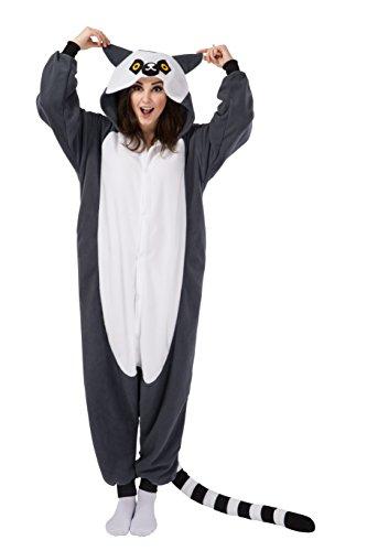 Kigurumi Lemur Schlafanzug Kostüm Erwachsene Anime Unisex Pyjamas Kostüme Jumpsuit Karneval Cosplay (Halloween Lemur Kostüm)