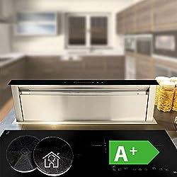 Table Hotte Aspirante (90cm, inox, verre noir, extra silencieux, 560m³/h, éclairage LED, 10 étapes, touches à détecteur TouchSelect, suivi automatique, EEK A+) DRAFT865 - KKT KOLBE