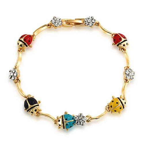 Bling Jewelry Oro placcato in ottone braccialetto con coccinelle multicolore e cristalli a fiore