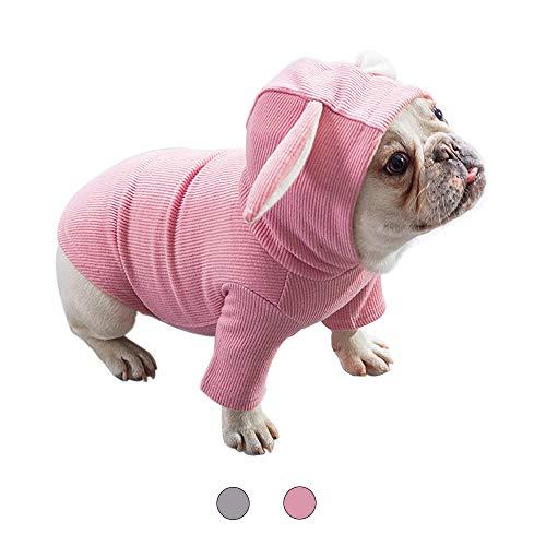Amakunft Plüsch-Kostüm mit Kapuze und Hasenohren für Kleine Hunde und Katzen, modisch, 2 Beine, warme Baumwolle