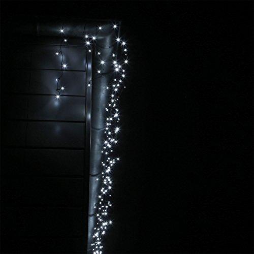 LED Eisregen Lichterkette mit 400 kalt weissen LEDs Lichtervorhang für Draußen und Innen - 3
