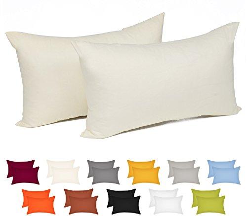 WOLTU® KB5149beQ2 , 2x Kissenbezug Kissenhülle 100% Baumwolle mit Reissverschluss , 2er Set Sofakissen Dekokissen Kissen Bezug , Kopfkissen Hülle Bezüge Doppelpack , 50x70 cm , Crème