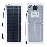 XINPUGUANG Flexible Solar Panel, 10 Watt Semi-Flexible Monokristalline Silizium PV-Modul mit Krokodilklemme Kabel für 3,7 V Batterie Handy Ladegerät(6V)