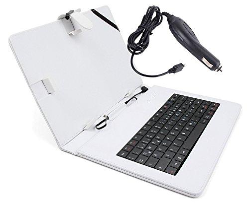 Deutsche QWERTZ-Tastatur mit weißer Tablet-Hülle & Auto-Ladeadapter für 8,9 Zoll Medion LifeTab P8911 / P8912 (MD 99066) sowie 10.1