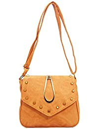 DCenterprises Women's Handbag/Shoulder Bag/Sling Bag Material- Synthetic Leather Color Sandy Brown