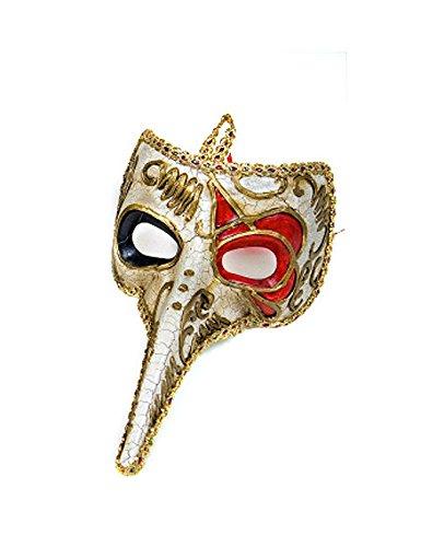 Venezianische Maske Rabe rot-Gold -
