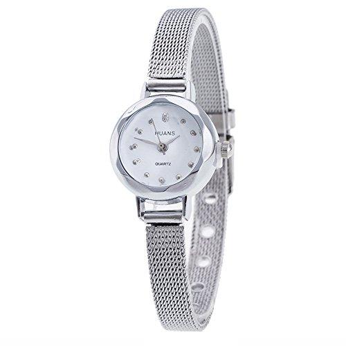 Uhren Damen Armbanduhr Frauen Edelstahl Mesh Band Armbanduhr Einfache Analoge Handgelenk Standuhren Einzigartige Uhr Wrist Delicate Watch,ABsoar