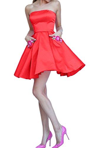 Charmant Damen Einfach Herzausschnitt Satin Cocktailkleider Partykleider Promkleider Mini A-linie Neu Rot
