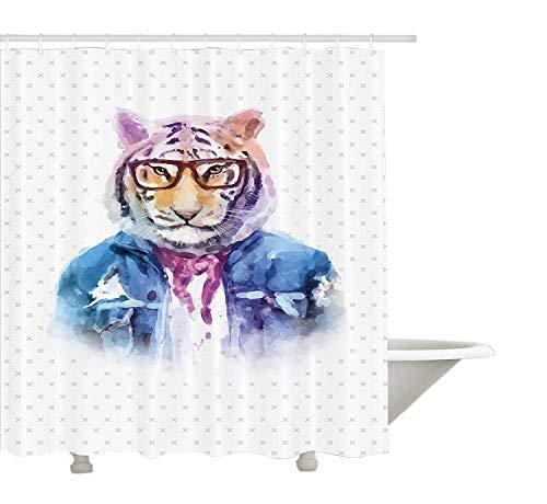 Yeuss schrulligen Duschvorhang, intellektuelle Tiger mit Schal zerrissene Jeansjacke Brille Hipster Aquarell Artwork, Stoff Badezimmer Dekor Set mit Haken, Multicolor