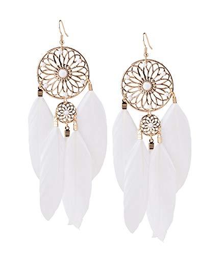 SIX opulente Statement Ohrringe weißer Feder-Ohrhänger perfekt für Festival Outfits indischer Stil (781-473)