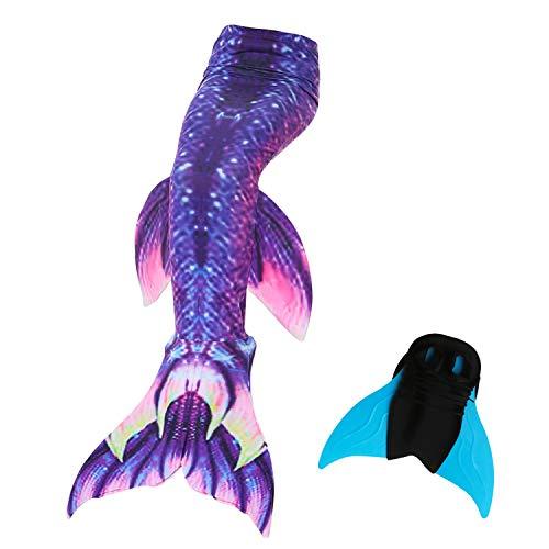 UrbanDesign Meerjungfrau Flosse Zum Schwimmen Damen Mit Monoflosse Bademode Badeanzug Kostüm Meerjungfrauenflosse Erwachsene Set, Erwachsener M, Galaxis