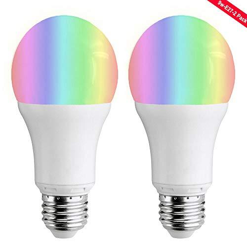 Wifi Smart Birne,LYASI Mehrfarbige LED Dimmbare Lampe 9W RGB Glühbirne,Smartphone gesteuert Tageslicht & Nachtlicht,arbeitet mit Alexa und Google Home Fernbedienung von IOS & Android (9w-E27-2 Pack)