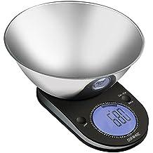 Duronic KS5000 - Bilancia da cucina in acciaio INOX con display digitale, Portata 5KG, diametro 24,5, con ciotola in acciaio INOX