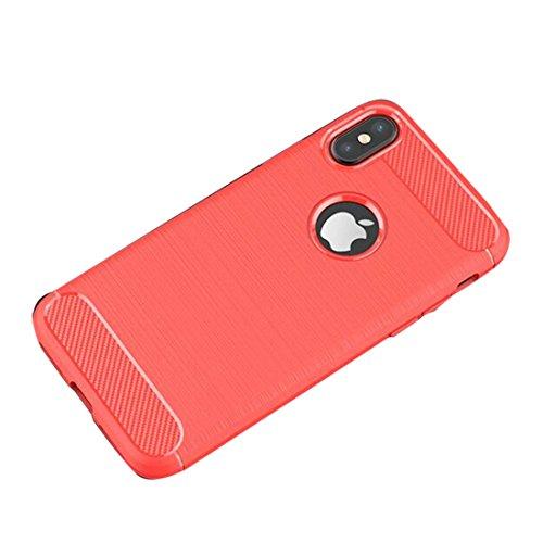 Custodia iPhone X, copertura iPhone X, Durevole Ultra magro Coperture protettive Fibra di carbonio morbida Caso di protezione case cover for iPhone X- grigio rosso