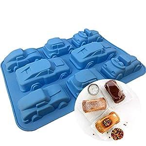 Joyeee Silikon Backform | Muffinform Backform für Muffins, Brownies, Schokolade, Kuchen, Pudding, Seife - Cartoon Auto Silikonform für Kindergeburtstag, Kuchenverzierung