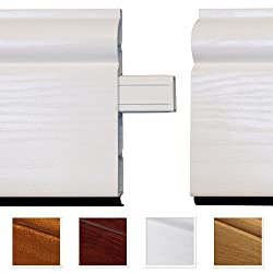 1 x White Satin Roomline Inline Joint Moulding PVC Skirting Board Joint - Hassle-free fitting. Zero-maintenance. Realistic woodgrain finish.