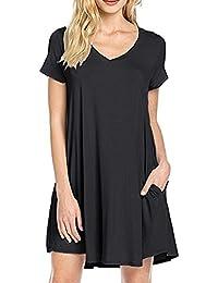 Mujeres Verano V-cuello Casual T-shirt vestido de túnica