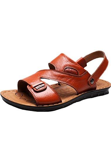 MatchLife Herren Leder Strand Sandalen Style4-Gelb Braun