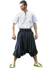 HEMAD Herren Hose Pluderhose schwarz - natur S-XXXL Mittelalter Baumwollhose Piratenhose