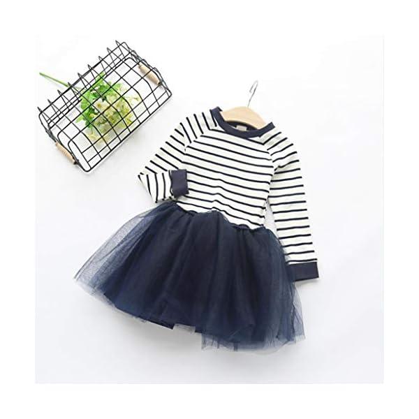 Mitlfuny Primavera Verano Ropa Niñas Bebé Princesa Vestidos Manga Larga Rayas Cuello Redondo Camiseta Vestido Tul… 3