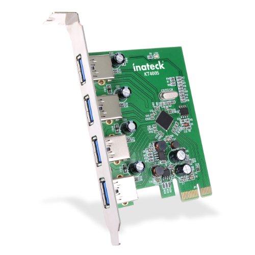 [Nuove]Inateck 4 porte PCI-E a USB 3.0 Scheda di espansione NEC chipset - Interfaccia USB 3.0 4-Port Express Card Desktop per Windows XP/7/8 - No supplementare alimentazione necessaria
