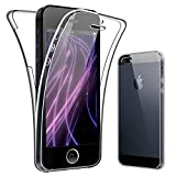 SDTEK Coque pour iPhone 5 / 5s 360 Degres Protection Integral [Transparente Gel] Full Body Silicone Case Cover Clair pour iPhone 5 / 5s