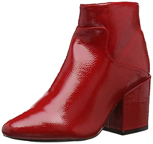 Lost Ink Damen Micha Block Heel Ankle Boot (Wide Fit) Stiefeletten Red 0055, 38 EU -