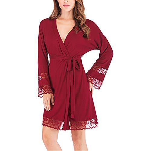Pinker Drache Kostüm - Damen Morgenmantel Kimono mit Taschen Bademantel