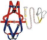 Lloow Protezione anticaduta Imbracatura, per Tutto Il Corpo imbragatura Uomini E Donne dispositivi di Protezione Regolabile (Corda di Sicurezza Lunghezza Totale 2m / 3m) per la Costruzione, Aerea