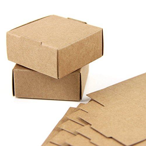 Sunbeauty carta kraft scatole, scatola portaconfetti regalo elegante, scatola carta natale, scatola regalo capodanno, piccola scatola 5.5 * 5.5 * 2.5cm, 20 pezzi