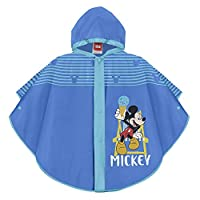 PERLETTI Mickey Mouse Waterproof Cape for Children - Blue Disney Rainproof Poncho with Light Blue Edges with Hood and Buttons - 2 Size
