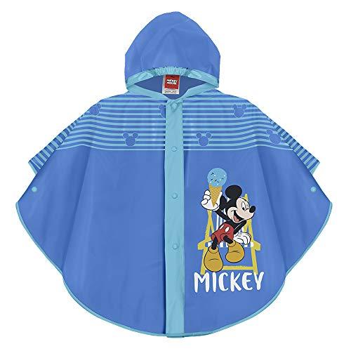 Perletti Micky Maus Regen Poncho für Kinder - Mickey Mouse Wasserdicht Regenmantel Jungen - Regencape mit Kapuze und Knöpfe - Blau (5/7 Jahren)