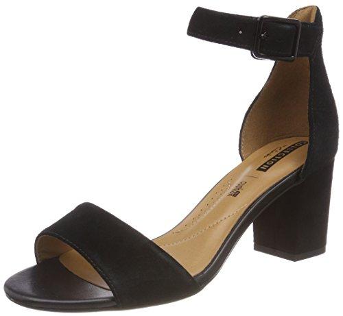Clarks Deva Mae, Zapatos con Tacon y Correa de Tobillo para Mujer, Negro Black Suede-, 39.5 EU
