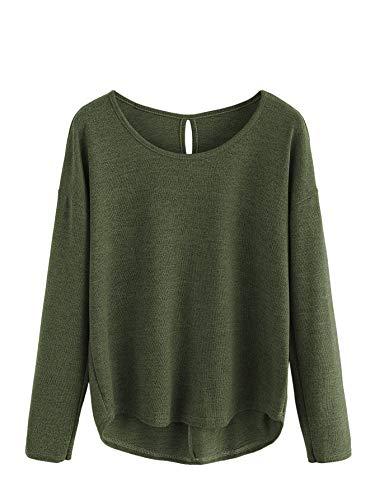 DIDK Damen Kurz Crop Pullover Rundhals Largarmshirts Tops Oberteile Casual Pulli mit Twist hinten Armeegrün L