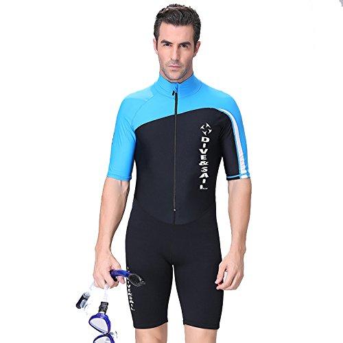 HYSENM Herren Tauchanzug Skins Neoprenanzug Nassanzug kurzarm 1,5mm UV-Schutz einteilig, Blau XXL